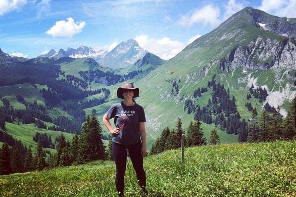 Carolyn hiking in the Alps