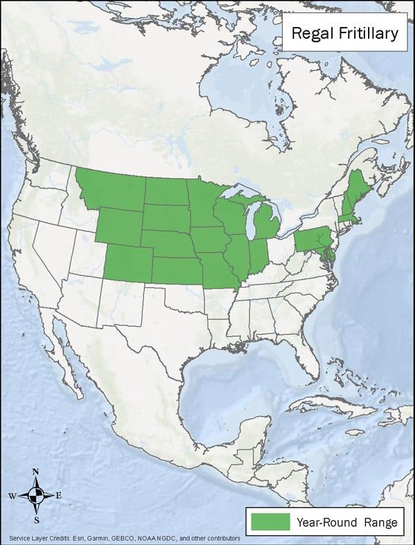 Regal Fritillary range map