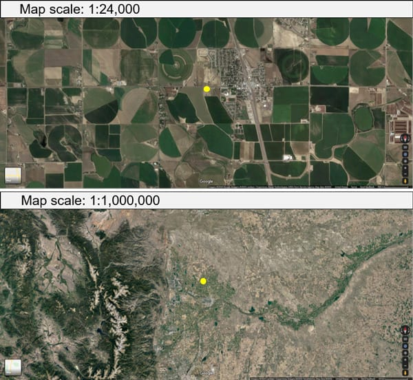 Aerial photos showing soil mapping scale