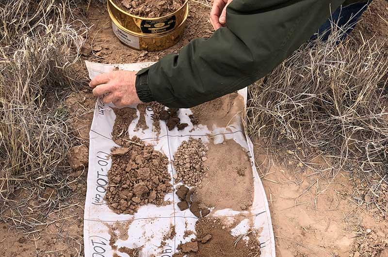 Soil samples on a tarp