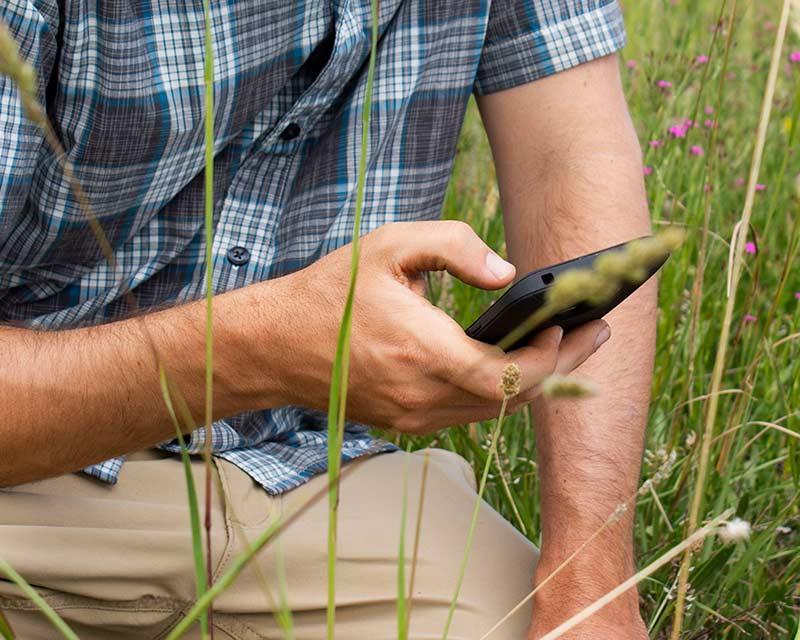 Man using app in the field